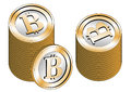 Some bitcoins stacked new virtual money for internet trading and business Stock Photo