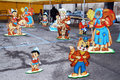 Some handmade templates shows fable pinocchio to children italian city urbania Stock Photos