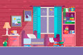 Some Kid Bedroom. Illustration of a cartoon children bedroom with boy or girl lifestyle elements, toys, bed, books, desk