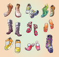 Some original vector shoes the set of the strange and casual footwear and even the one ski boot editable eps v enjoy Royalty Free Stock Photography