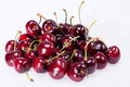 Some of ripe red cherry isolated on white background Royalty Free Stock Photo