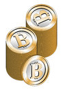 Some stacked bitcoins isolated over a white background new virtual money for internet trading and business Stock Image