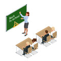 Sometric School lesson. Little students and teacher. Isometric Classroom with green chalkboard, teachers desk, pupils
