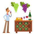 Sommelier in suite looking at red wine in glass professional alcohol restaurant man character vector illustration.