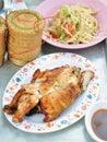 Somtum grill chicken thai style food Stock Photos