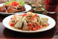 Somtum grill chicken thai style food Royalty Free Stock Photography