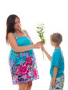Son giving flowers to his pregnant mother Royalty Free Stock Photo