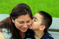 Son kissing mom on cheek Stock Photos