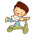 Son Mascot riding Kickboard. Home and Family Character Design Se Stock Photography