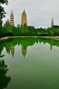 Song dynasty town dali yunnan province china rebuild in three pagodas and water with reflection Stock Images