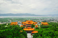 Song dynasty town dali yunnan province china rebuild in three pagodas and water with reflection Royalty Free Stock Photography