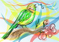 Songbird abstract bird on a multicolor background Stock Images