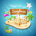 Songkran Festival summer in Thailand on blue sea