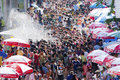Songkran or water festival in thailand bangkok apr revelers during on apr bangkok the has long been observed as new Royalty Free Stock Photo
