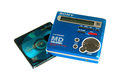 Sony mini disc a blue portable player with a media behind it Stock Photography