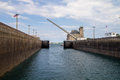 The soo locks entrance to approximately ships per year making it one of busiest in world and integral to great Royalty Free Stock Photo