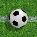 Soocer ball on the field realistic soccer football background Stock Photos