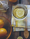Soothe a hot cup of tea with lemons and honey Stock Images