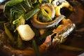 Sopa del cocinero de la anguila Fotos de archivo