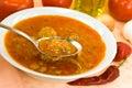 Sopa del Guisar-cocido húngaro - con paprika y cubos rojos Fotografía de archivo