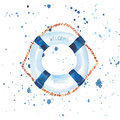 Sophisticated cute graphic lovely beautiful wonderful summer sea fresh marine cruise colorful lifebuoy watercolor