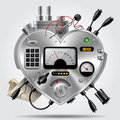 Sophisticated electronic device in the form of heart with the dashboard Royalty Free Stock Photo