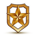 Sophisticated vector blazon with golden star emblem, 3d