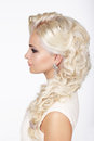 Sophistication fashionable girl with ashen dyed curly hairs profile of Stock Image