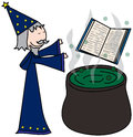 Sorcerer cartoon style illustration of a casting spells Stock Photo