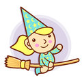 Sorceress mascot riding a broom flies work and job character de design series Stock Photos