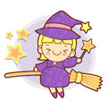 Sorceress mascot riding a broom flies work and job character de design series Royalty Free Stock Images