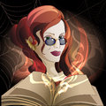 The sorcery illustration of witch with open book of spells and inflaming magic fire against spider webs drawn in cartoon style Stock Photography
