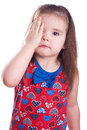 Sore eye little girl on white Royalty Free Stock Photo