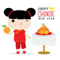 Sorella cinese vettore del fumetto di hold orange cute Fotografia Stock Libera da Diritti