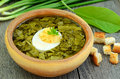 Sorrel soup with egg in bowl on the wooden table Stock Photography