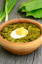 Sorrel soup with egg in brown bowl on the wooden table Royalty Free Stock Photography