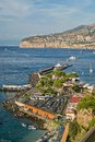 Sorrento touristic harbor and beach italy view of gulf of naples Royalty Free Stock Images