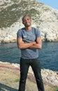 Sorriso novo do homem negro, ao ar livre Fotografia de Stock