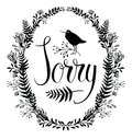 Sorry card with floral vignette and bird Stock Images