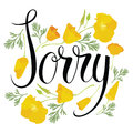 Sorry card with yellow flowers Royalty Free Stock Photography