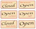 Sorry we are closed a set of open and signs Royalty Free Stock Photography