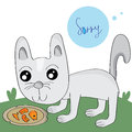 Sorry slim cat illustration look denutrition Stock Images