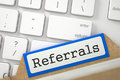Sort Index Card with Referrals. 3D. Royalty Free Stock Photo