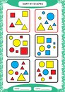 Sort by Shapes. Sorting Game. Group by shapes - square, circle,triangle. . Special sorter for preschool kids. Worksheet Royalty Free Stock Photo