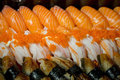 Sort of sushi closeup variety in set box Royalty Free Stock Images