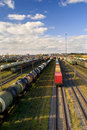 Sorting station with freight trains in sunny day Royalty Free Stock Photo