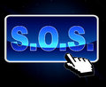 Sos Button Indicates World Wide Web And S.O.S. Royalty Free Stock Photo