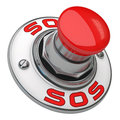 Sos button rugged metal screwed on white background Royalty Free Stock Images