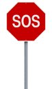 Sos a conceptual stop sign indicating Stock Image