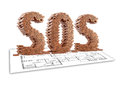 Sos illustration of with bricks on construction plane Royalty Free Stock Image